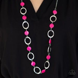 Pink Shell-like Beaded Necklace Earring Set NWT